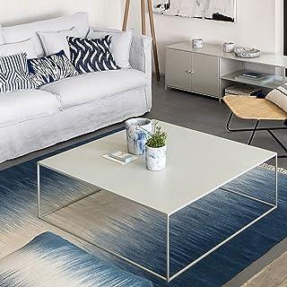 CJDM Table Basse carrée, Table à thé Simple dans Le Grand et Le Petit Salon de la Maison, Table à thé en Fer Noir et Blan...