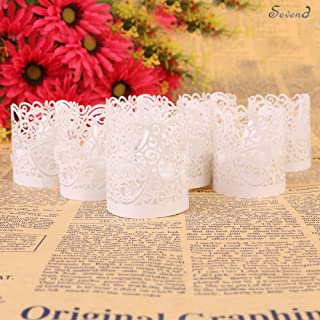 Sevend Candle Wraps, 50 Pieces Tea Light Wraps and Candles Holders for Weeding, Table, Gift, Outdoor (White Candle Wraps)