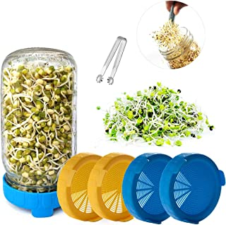Sprouting Lids for Wide/Large Mouth Sprouting Mason Jar, Plastic Sprouting Lids for Sprouting Broccoli/Alfalfa Seeds/Mung ...