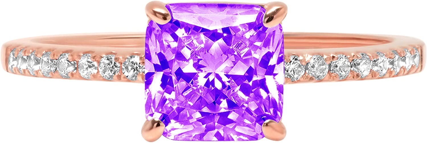 free shipping 1.6ct half Brilliant Asscher Cut Solitaire with Natural Purple Accent