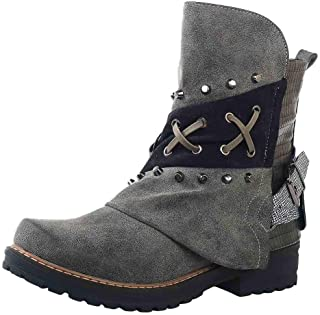 Dermanony Womens Knight Boots Fashion Leather Buckle Low Heel Ankle Boots Large Size Side Zipper Casual Combat Boots