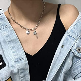YERTTER Punk Simle Star Pendant Necklace Chunky Choker Boho Jewelry Chain for Women and Girls