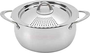 Bialetti Oval 6 Quart Multi-Pot with Strainer Lid, whole pasta, corn, lobster, Stainless Steel