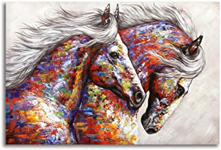 BYXART Animal Framed Wall Art for Living Room Bedroom Home Decor Colorful Two Running Horses Prints and Posters Canvas Painting Horse Pictures for Walls Ready to Hang (16x24in, Multi)