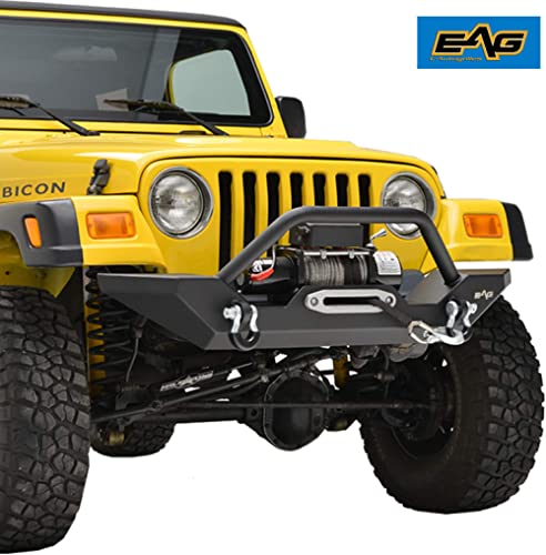 EAG Steel Front Bumper with Winch Plate Black Textured Fit for 87-06 Wrangler TJ YJ