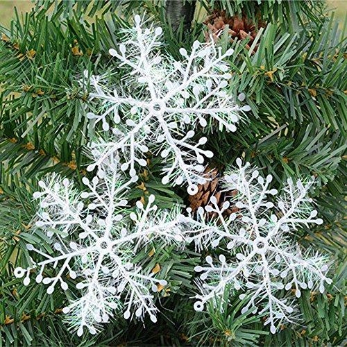 HuntGold 3 pcs/lot Plastique Flocon de neige blanc Charms Ornements Festival Décoration de fête SE Positionne sur porte fenêtre plafond Arbre de Noël Merveilleux Décor, beige, 8CM