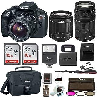 Canon EOS Rebel T6 Digital Camera: 18 Megapixel 1080p HD Video DSLR Bundle with 18-55mm &75-300mm Lenses 32GB (2 x 16GBSD Card) Flash Filter Kit & Bag - Professional Vlogging Sports & Action Cameras
