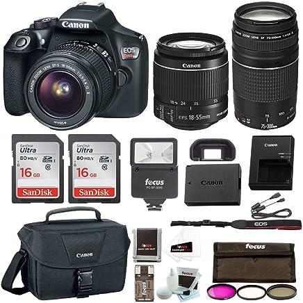 Canon Rebel T6 DSLR cámara con objetivo de 18-55 milímetros y 75-300 milímetros Canon 100ES estuche, flash, kit de filtros más 32Gb de paquete promocional