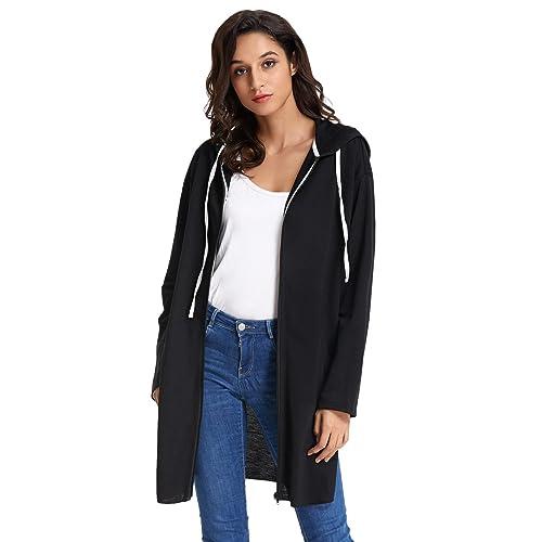 be0317015fd GRACE KARIN Women s Lightweight Jacket Long Sleeve Side Slip Hooded Zip Coat  Tops AF104