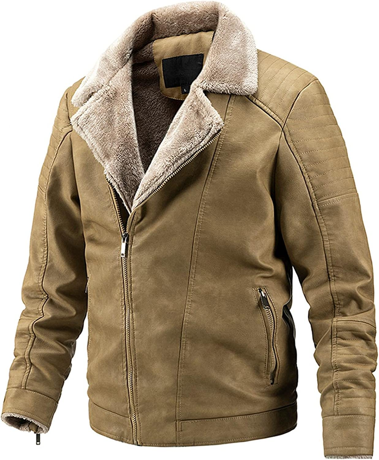 JSPOYOU Mens Fur Collar Coats Winter Warm PU Faux Leather Zip Up Jacket Big and Tall Fleece Lined Overcoat
