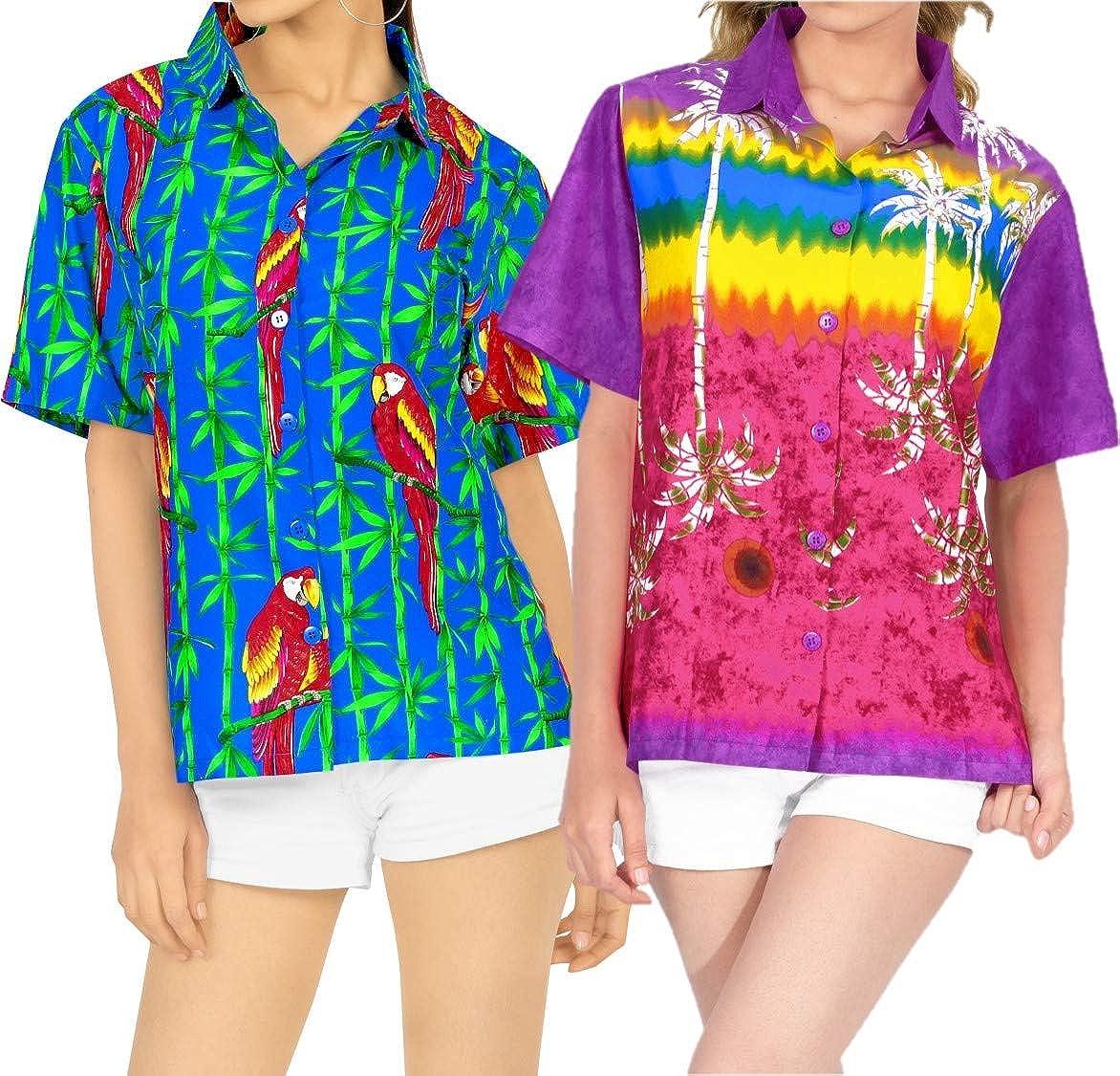 LA LEELA Women's Camp Hawaiian Blouse Shirt Button Down Up Swim Wear Work from Home Clothes Women Beach Shirt Blouse Shirt Combo Pack of 2 Size M