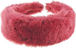 Glamour Girlz, Diadema ancha suave de piel sintética para mujer (borgoña)