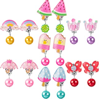 Hicarer 7 Pairs Christmas Crystal Acrylic Clip on Earrings Princess Jewelry Earring and 7 Pairs Earrings Pads in Pink Box ...
