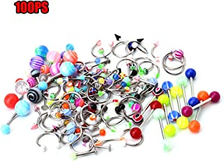FunnyDay 100Pcs Body Piercing Jewelry Tongue Belly Lip Eyebrow Nose Barbell Ear Rings