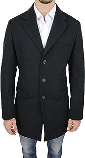 Cappotto Uomo Sartoriale Nero Slim Fit Giaccone Soprabito Invernale Casual Elegante