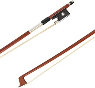 MI&VI Brazilwood Violin Bow 4/4 (Full Size) with Ebony Frog and Octagonal Silver Mount | Well Balanced | Light Weight | Real Mongolian Horse Hair - By MIVI Music