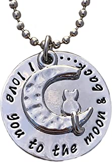 """""""I Love You to the Moon and Back"""" silver pendant with Cat Kitty necklace in heart gift box"""