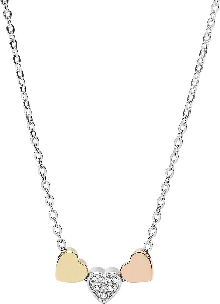 fossil ,collana da donna,in acciaio inossidabile di colore silver e di colore oro rosè e oro jf02858998-9