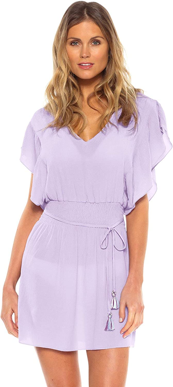 Becca by Rebecca Virtue Women's Flutter Sleeve Cover Tunic Swim Cover Up