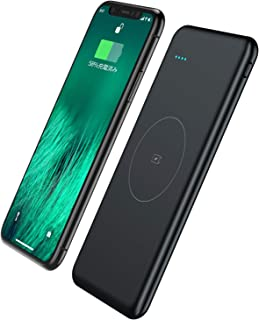 モバイルバッテリー Qi ワイヤレス充電器 大容量 10000mAh 薄型 軽量 急速充電器 【PSE認証済】Micro-USBポート搭載 有線と無線対応 3台同時充電 Androidなど各種対応(ブラック)