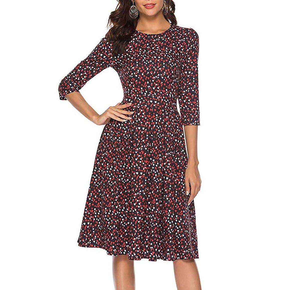 Xinantime Women 3/4 Sleeve Midi Evening Dress Floral Vintage Dress Elegant Party Club Midi Dress