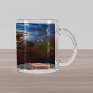 Lunarable Safari Glass Mug, Wild and Angry Tiger Portrait Fire Blue Flame Brave Mammal Forest King Roar, Printed Clear Glass Coffee Mug Cup for Beverages Water Tea Drinks, Blue Orange Black