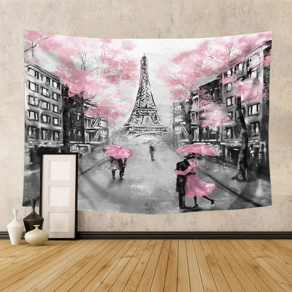 Riyidecor Pink Paris Eiffel Tower Tapestry for Living Room Decor 71Hx91W Inch Paris Theme Wall Hanging for Girls Women Vintage Home Wall Decor Modern France City Art Romantic Lover Couple Bedroom