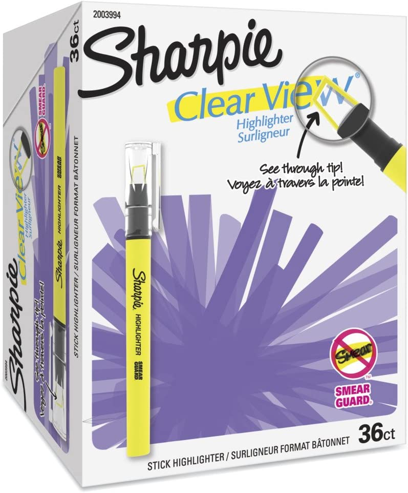Sharpie Opening large release sale Clear View Highlighter Stick Yellow 12 Dedication of Box 1950447