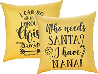 """CHIMAERA Fall Pillow Covers 18""""X18"""" Inch Christmas Decorative Couch Pillow Cases Thanksgiving Goose Down Case Farmhouse Yellow Pillow Cover for Sofa, Couch, Bed and Car (2 Packs)"""