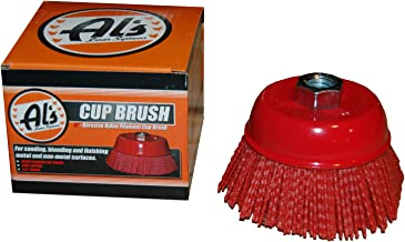Al's Liner TOOR4 4 Inch Abrasive Nylon Bristle Cup Brush, 180 Grit