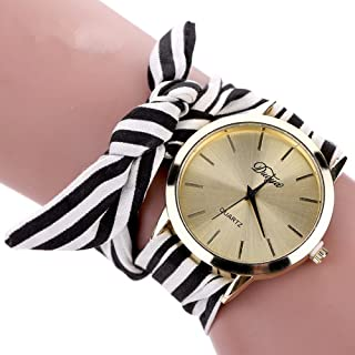 YAMULA Hot Selling Womens Bow Bracelet Wristwatch, Black and White Fabric Stripe Bracelet Watch