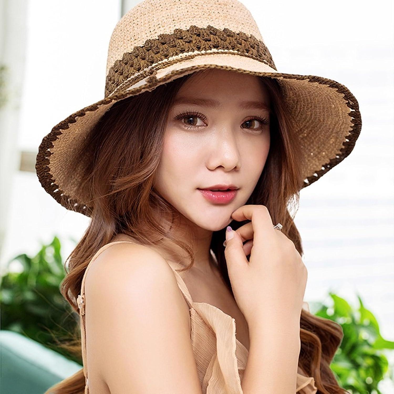 LIANGJUN Sun Hats Women's Straw Hat Wide Brim Collapsible Adjustable Cap Summer Beach Outdoor, 5 colors Avaliable (color   3 )