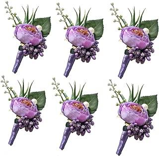 6 Pieces/lot Groom Boutonniere Man Buttonholes Wedding Flowers Party Decoration (Light Purple)