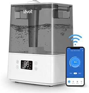 LEVOIT Top Fill 6L Cool Mist Humidifiers for Bedroom, Smart WiFi Compatible with Alexa, Ultrasonic Air Vaporizer for Large Room, Baby BPA Free, Quiet Essential Oil Diffuser; 3 Mist Levels, Auto Mode