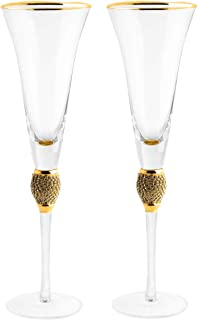 Large Diamond Champagne Flutes, Glasses, With Gold Rim - Set of 2-7 Ounce, Premium Designed Champagne Glasses for Spirits and Wine, Gift Boxed By The Wine Savant