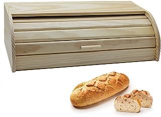 e!Orion Panera de Madera Natural de bambú con Tapa Enrollable, panera o Recipiente de Comida Seca para Almacenamiento de Cocina (48 x 25 x 15 cm)