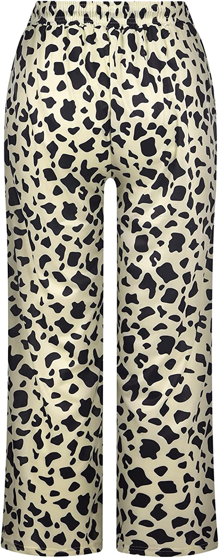 Womens Comfy Palazzo Pants Tie Dye Wide Leg Pants Elastic Waist Lounge Pajama Bottoms Premium Soft Casual Trousers