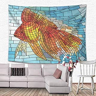 Bedding Tapestry Abstract Orange Tropical Fish Style with Mosaic Art Pattern Stained Glass Window and Gold Fish Underwater Home Decor, 63