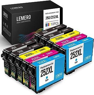 LEMERO Remanufactured Ink Cartridges Replacement for Epson 252 252XL T252 for Workforce WF-7720 WF-7710 WF-3640 WF-3620 WF-7620 WF-7610 WF-7210 WF-7110 (4 Black, 2 Cyan, 2 Magenta, 2 Yellow, 10 Pack)