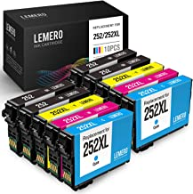 LEMERO Remanufactured Ink Cartridges Replacement for Epson 252 252XL T252 for Workforce WF-7720 WF-7710 WF-3640 WF-3620 WF-7620 WF-7610 WF-7210 WF-7110 (4 Black, 2 Cyan, 2 Magenta, 2 Yellow, 10 Pack)