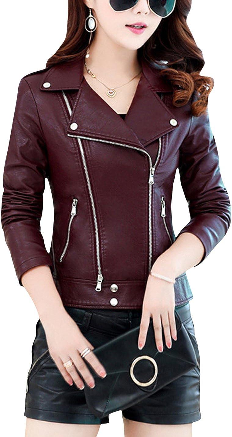 Springrain Women's Notch Lapel Slant Zipper Outerwear PU Leather Jackets