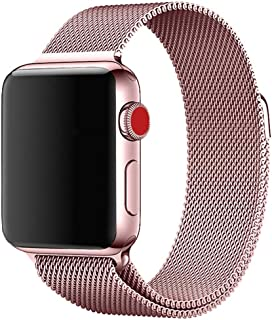 Apple watch バンド 38mm 40mm 42mm 44mm Apple Watch series4/3/2/1に対応 ステンレス留め金製 (38mm 40mm, rose pink)