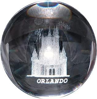 CASTLE in 3D Laser art Crystal ball globe - GREAT souvenir from ORLANDO FLORIDA