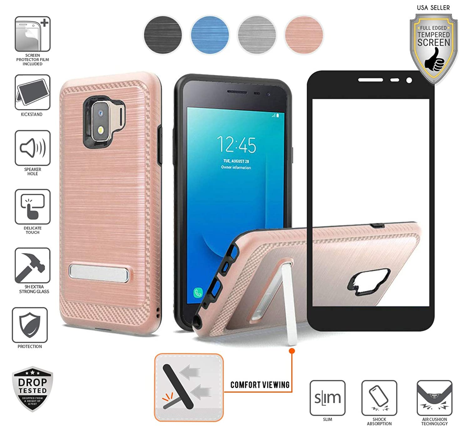 Compatible for Galaxy J2/J2 Pure/J2 Core/J2 Dash Case with Stand, with Full Edged Tempered Glass Screen Protector, Premium Tough Armor Hybird [Shockproof] Carbon Brushed Design Case (Rose Gold)