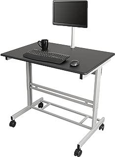 "40"" Mobile Adjustable Height Stand Up Desk with Monitor Mount (Black Shelves/Silver Frame)"