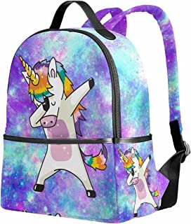 Unicorn School Backpack for Girls Galaxy Cute Bookbags Elementary School Bags 12.6x 5 x 14.8 for 1th-2th 3th Grade Girls Kids Boys