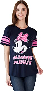 Disney Womens Fitted T-Shirt Mickey & Minnie Mouse Football Athletic Jersey