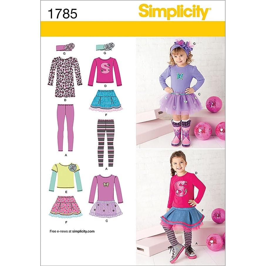 Simplicity Pattern 1785 Girls Sportswear: Skirt and Knit Dress, Top, Leggings Size: BB (4-5-6-7-8)