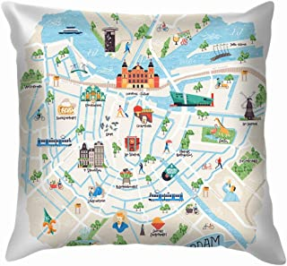 X-Large Illustrated Map Amsterdam Netherlands Doodle Buildings Landmarks Museum Soft Cotton Linen Cushion Cover Pillowcases Throw Pillow Decor Pillow Case Home Decor 20X20 Inch
