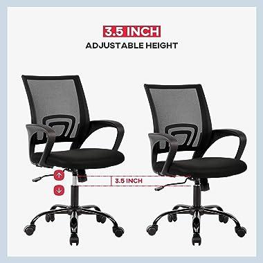 Office Chair Ergonomic Cheap Desk Chair Mesh Computer Chair Lumbar Support Modern Executive Adjustable Stool Rolling Swivel C